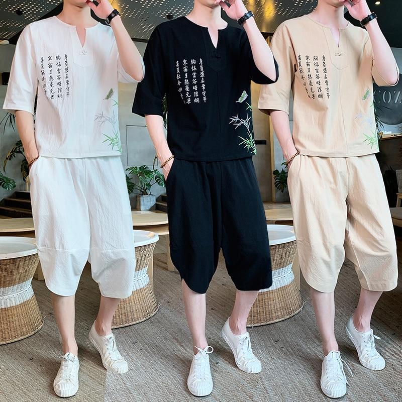 Sinicism Store Men's Set Casual Suit Cotton Linen T Shirt Man Shorts Oversize Men T-shirt Male 2020 Summer Embroidery Tracksuit