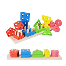 цены Children Montessori Wooden Toys Shape Matching Blocks Interactive Toys Preschool Toy Brinquedo Juguetes Oyuncak Brinquedos