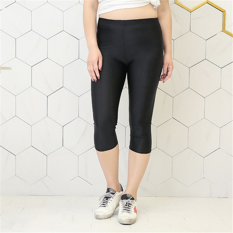 Mid-calf black   Leggings   Femme Plus Size S-5XL Clothing Shiny Spandex   Legging   Capris For Women