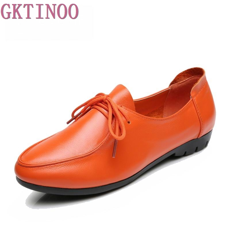 Women's Handmade Shoes Genuine Leather Flat Lace Up Shoes Woman Loafers Soft Casual Shoes Women Flats Plus Size 35-43 siketu sweet bowknot flat shoes soft bottom casual shallow mouth purple pink suede flats slip on loafers for women size 35 40