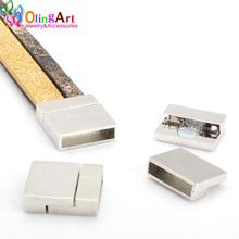 OlingArt 24*20mm 4Pcs/lot magnetic Leather clasps silver-color Ancient bronze Jewelry Findings DIY Fit 10MM cord /bracelet