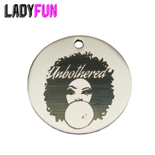 Lady Unbothered Stainless Steel Charms 25mm High Polish Mirror Surface Jewelry Pendant Tag 20pcs