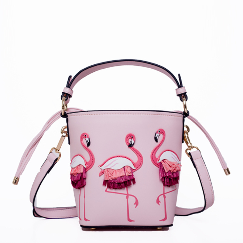 Flamingo Women's bag female 2019 new bucket bag niche design handbag Korean version of the little fairy shoulder messenger bag