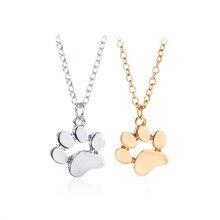 2018 creative jewelry popular cute animals cats paw footprints necklace zinc alloy