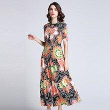 European style short sleeves floral print elegant dress Brand new 2019 summer runways women's maxi dress A337