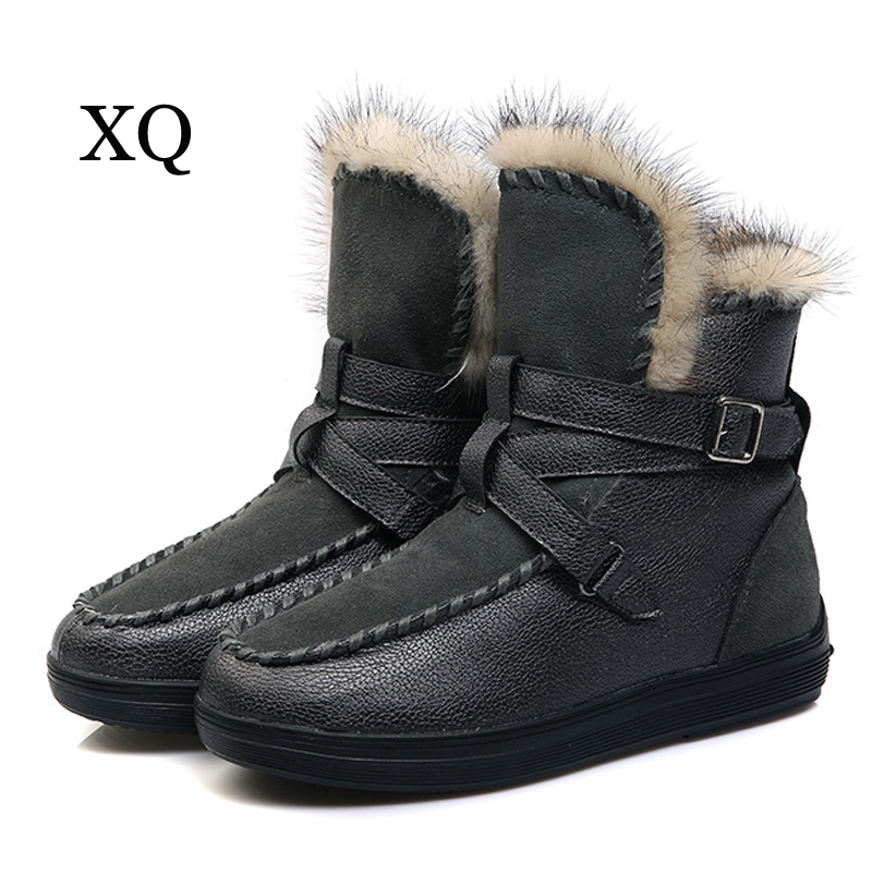 Women boots 2017 new arrivals warm plush winter shoes women genuine leather ankle boots non-slip snow boots цена