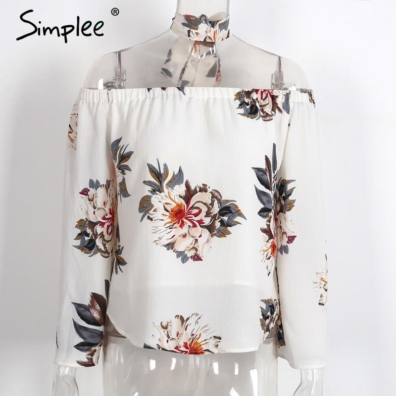 HTB1wOsdPXXXXXcsaXXXq6xXFXXXT - Floral print off shoulder chiffon blouse Women tops halter cool