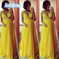 Yellow A Line Empire Chiffon Maternity Evening Dresses With V Neck Beaded Sequins Ruffles Women Prom