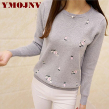 YMOJNV 2017 Winter Sweaters Women Embroidery Pullover Female Autumn High Elastic Tricot Jumper Fashion Winter Tops Pull Femme