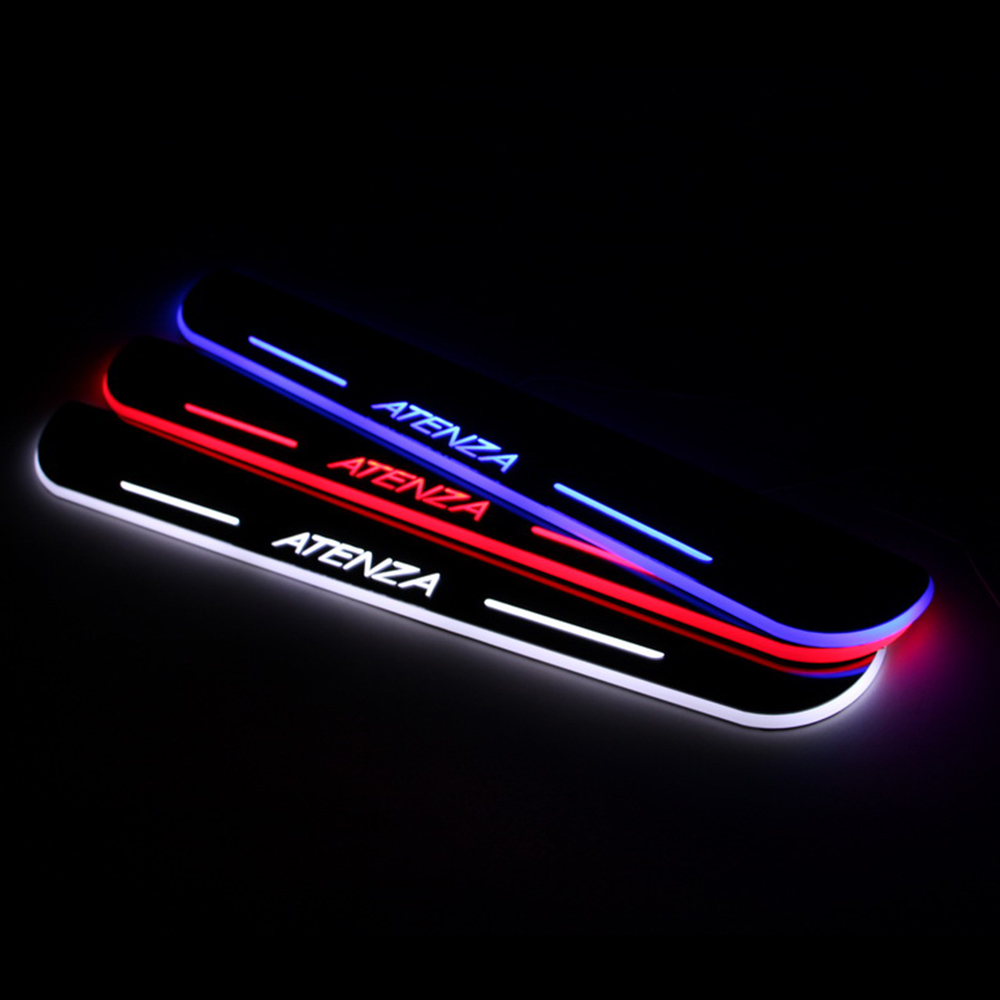 Car Styling LED Moving Door Scuff for Mazda 6 ATENEZA 2013-2015 Door Sill Plate LED Welcome Pedal LED Brand Logo Accessories sports car door sill scuff plate guard sills for 2014 mazda 6 atenza m6