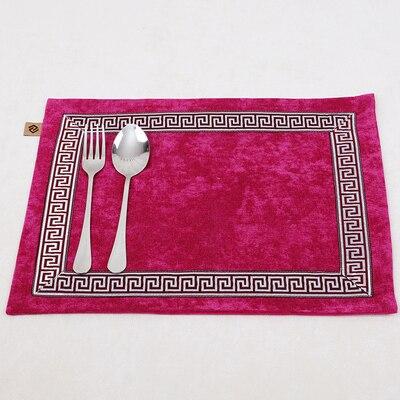 Лоскутный с вышивкой кружевное китайские столовые приборы стол колодки Статуэтка винтажный Европейский стиль бархатная ткань Настольный коврик - Цвет: Розовый