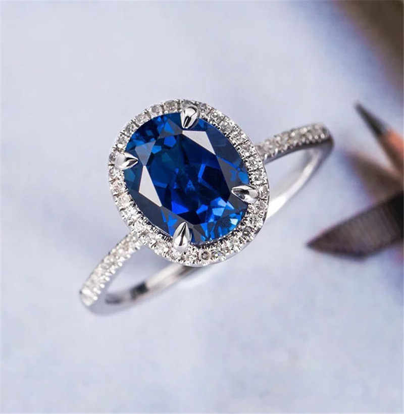 Royal Blue Round Multi-drilled Ladies Zircon Ring Perfect Round Cut Zircon Stone Rings Female Party Jewelry Color Silver