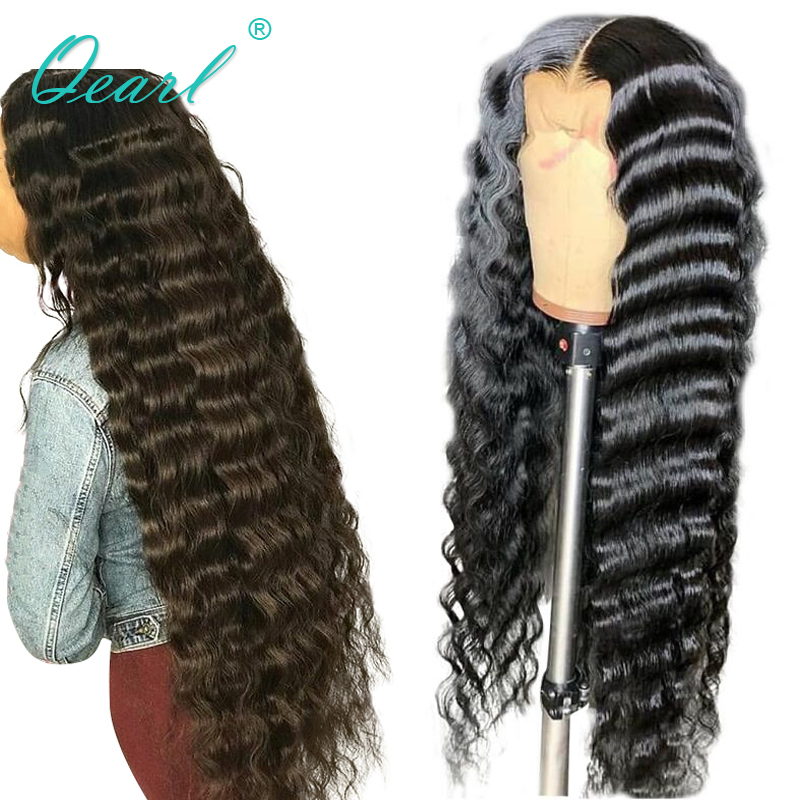 Long Human Hair Lacefront Wig Deep Wave Lace Wigs 180% 300% Thick Density Brazilian Remy Hair Black 26