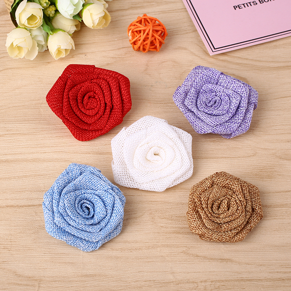 unidslote flores diy arpillera artesanal falsa flor rosa rstico flores escarda la