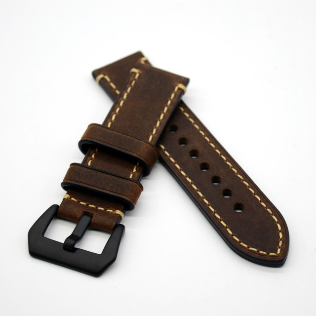 Hand Made Genuine Leather Watch Band Strap for P Watch 20mm 22mm 24mm 26mm With Black Buckles