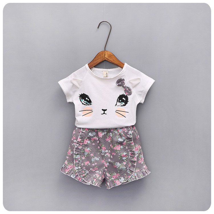 2016 Summer Korean Children's Garment New Product Girl Baby Kitty T-Shirt Shivering Shorts Tight Pants Suit 2 Pieces Set
