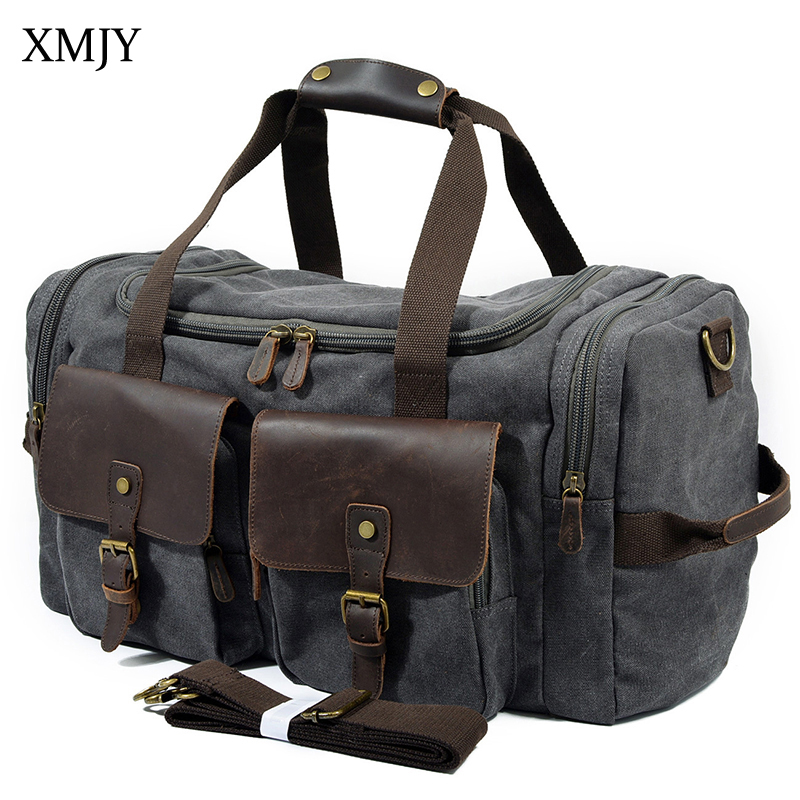 XMJY Canvas Bag Large Capacity Travel Bag Carry On Luggage Bags Fashion Leisure Men Multifunctional Pockets Travel Duffle Tote japanese pouch small hand carry green canvas heat preservation lunch box bag for men and women shopping mama bag