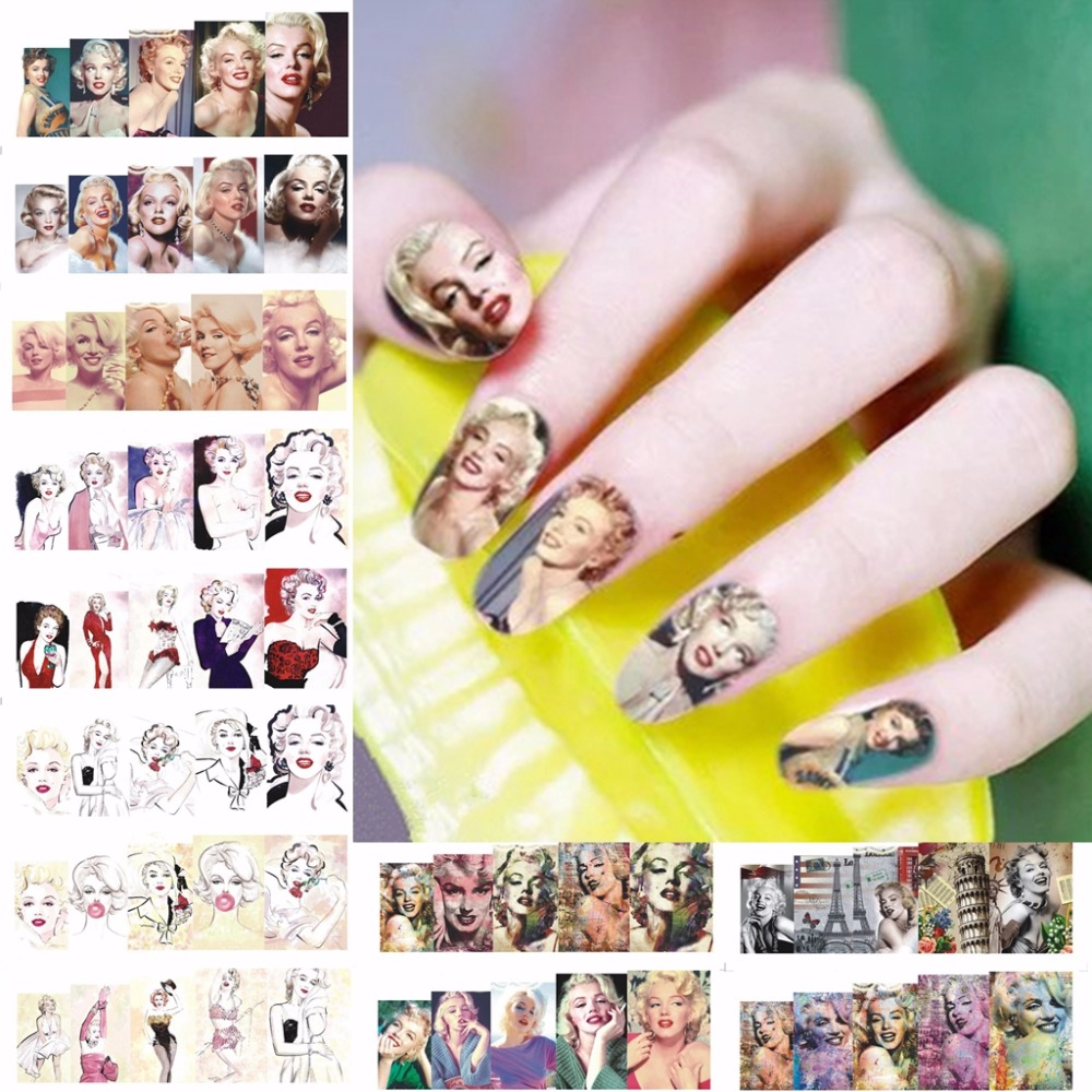 12 sheets beauty Marilyn Monroe style Nail Art Water Transfer decals ...