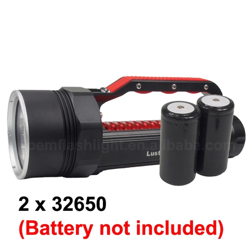LusteFire DV400 6 x Cree XM L2 blanc/blanc neutre 5000 Lumens réglable en continu LED lampe de poche de plongée noir (2x32650) - 6