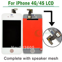 White Black For IPhone 4 4G 4S LCD Screen Digitizer Touch Display Assembly Complete Replacement Speaker