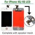 Branco/preto para iphone 4 4g 4s digitador da tela de lcd assembléia touch display substituição completa + speaker malha anexado