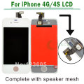 White/Black For iPhone 4 4G 4S LCD Screen Digitizer Touch Display Assembly Complete Replacement+ speaker mesh attached