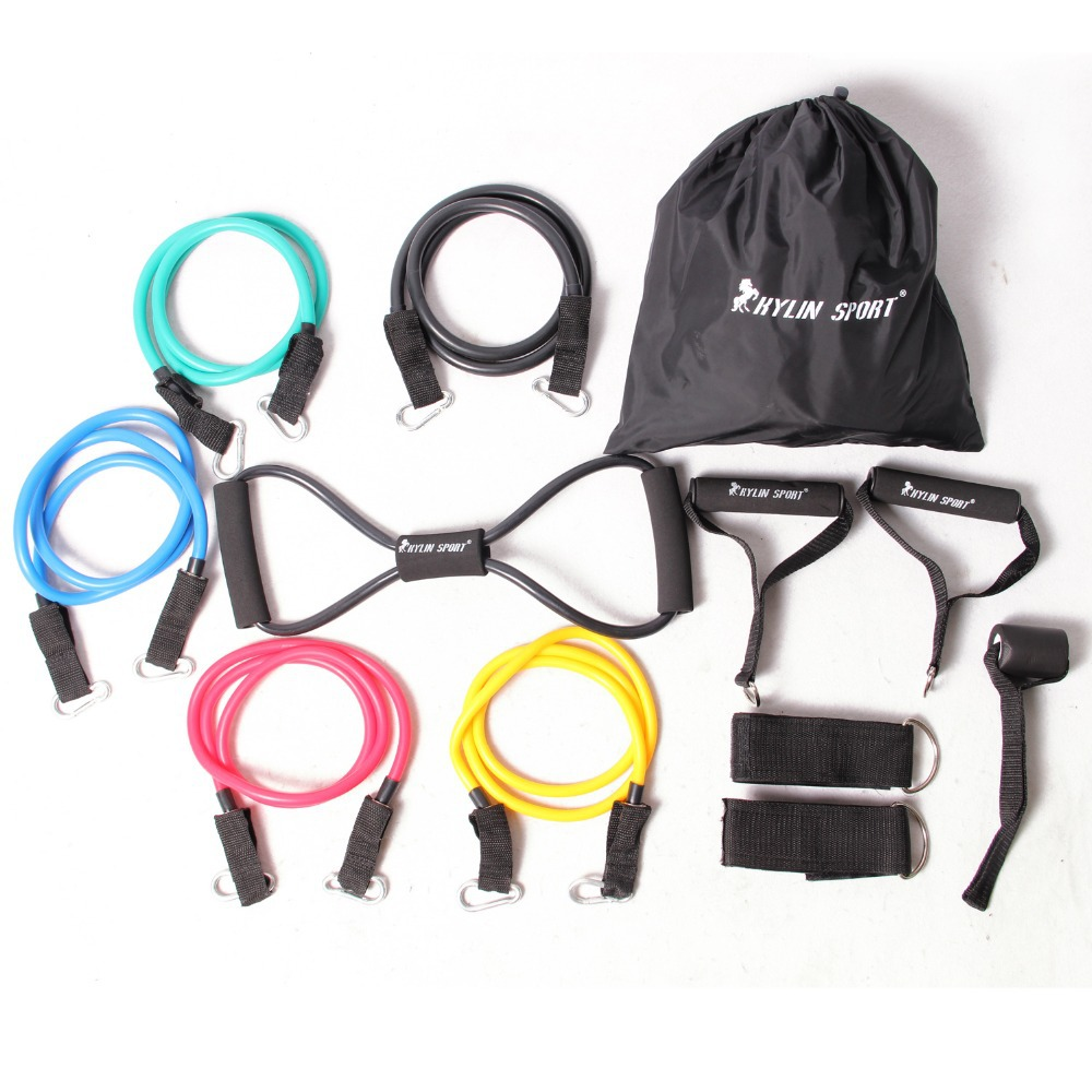 free shipping 12pcs resistance bands exercise set fitness tube yoga workout pilates for wholesale kylin sport in Resistance Bands from Sports Entertainment
