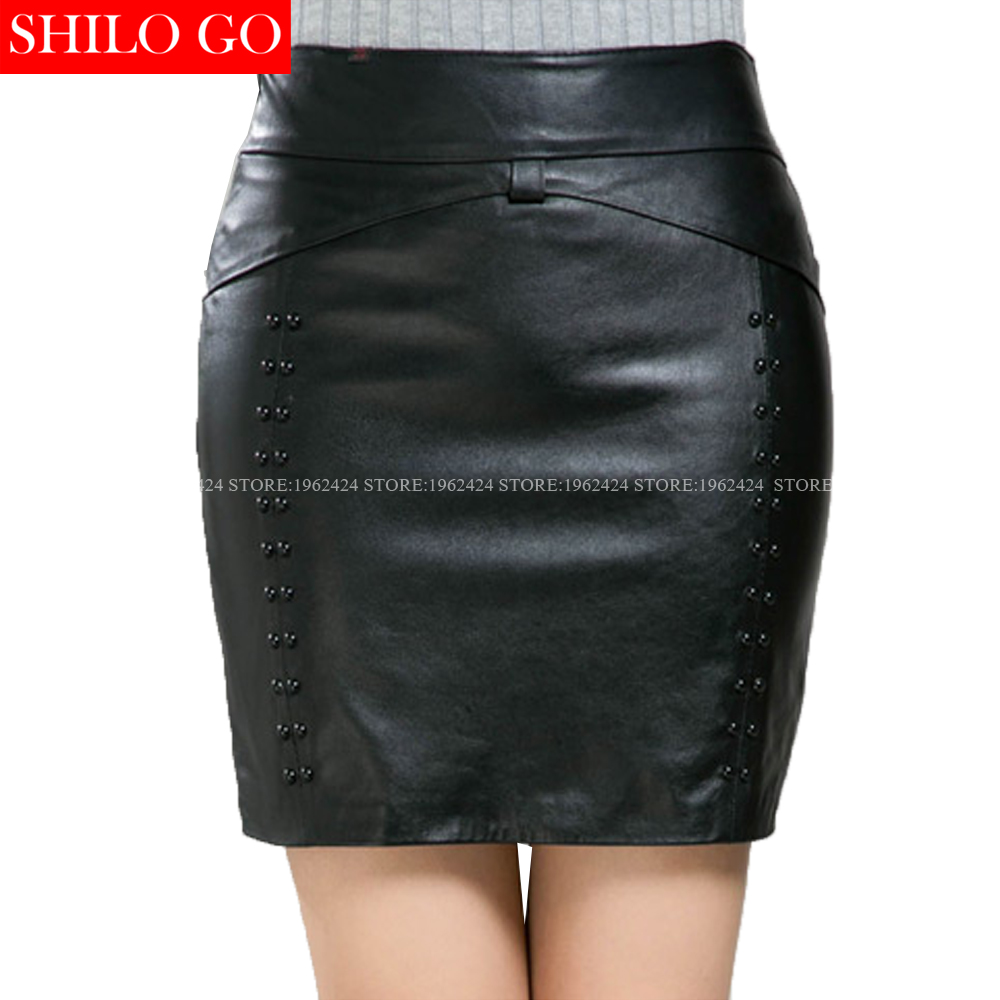 SHILO GO New Fashion Street Women Formal Empire Leather Shorts sheepskin Genuine Beading Pencil Skirt Ladies office skirt XXXXL sm s0301 wireless control wifi multi plug power socket smart home automation us plug outlet