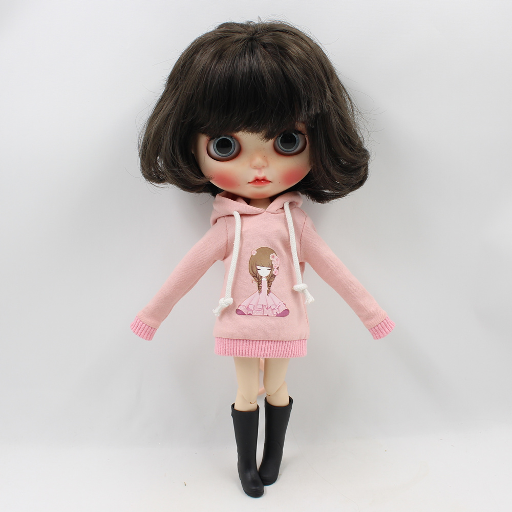 Blyth doll new cute pink sweater dress girl 1/6 toy gift