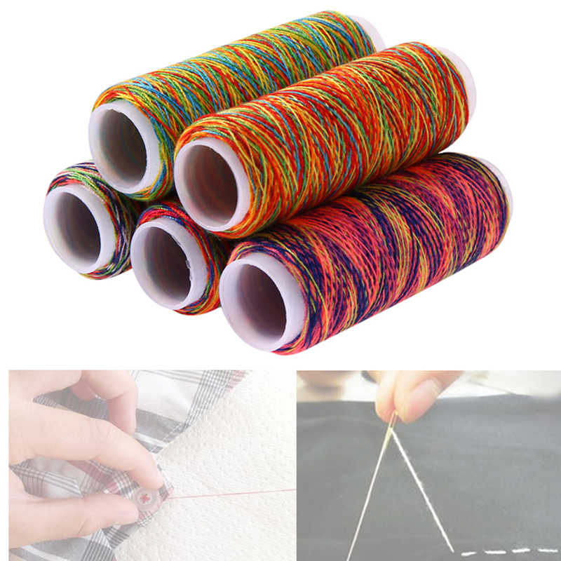 1Set 5 Rolls Rainbow Color Sewing Thread Hand Quilting Embroidery Thread Fiber DIY Home Sewing Yarn Knitting Accessories 763699