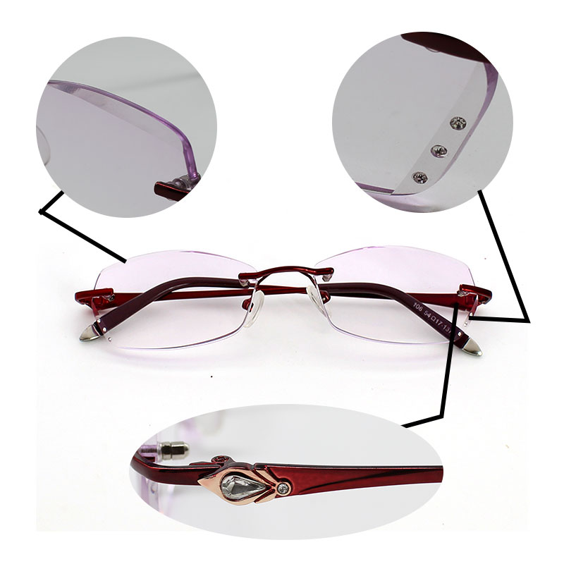 2163d99050 Rhinestone Reading Glasses for Women Purplish Lens Gafas de Lectura Luxury  Rimless Spectacle +100 150 200 250 300 350 400 10pcs-in Reading Glasses ...