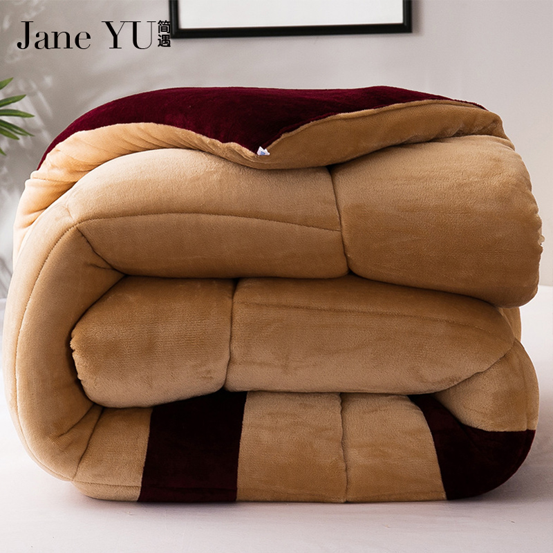 JaneYU 2018 New Arrived Winter Thicken Quilt Wool Cashmere Quilt Warm Fibers Quilts Bedding Sets Duvet ...