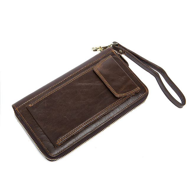 6e79be0ef11ec Männer Lange Brieftasche Kuh Leder Casual Reißverschluss Handtasche Kuh  Leder Telefon Handtasche Reißverschluss Um Geldbörsen Männer