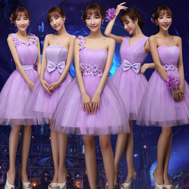 Us 20 2 Special Occasion Lavender One Shoulder Short Party Dress Bridesmaids Light Purple Dresses Summer For Young Ladies Girls B2042 In Bridesmaid