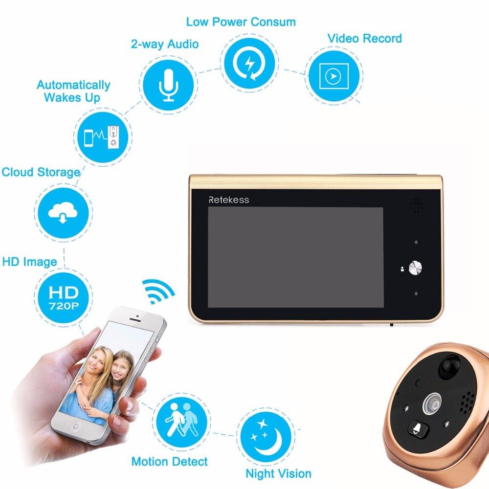 RETEKESS Wifi Smart Guckloch Video Türklingel 2,4 ghz 720 p HD Kamera Nachtsicht PIR Motion Erkennung APP Control Für IOS Andriod