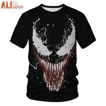 Компрессионная Футболка Venom с 3D принтом, мужские футболки, летний костюм для косплея, топы с коротким рукавом, мужская одежда размера плюс, футболки