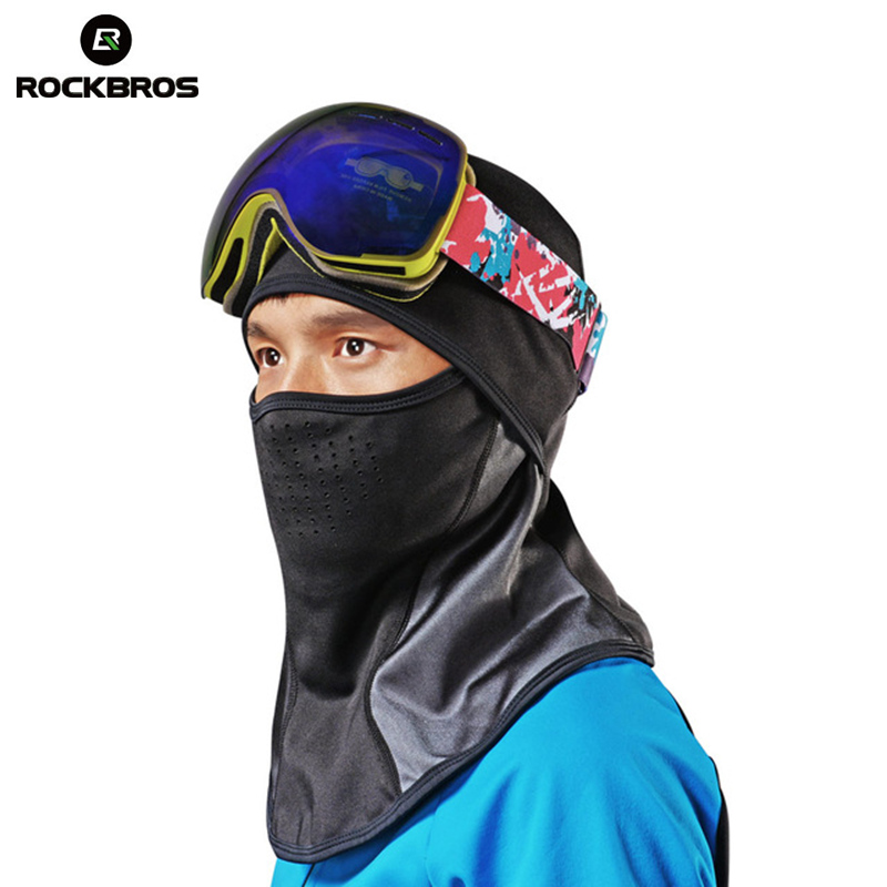 ROCKBROS Snow Winter Skiing Thermal Headwear Neck Lycra Fleece Scarfs Ski Headwear Hat Windproof Warm Snowboarding Face Masks outdoor sports winter thermal fleece warm ski hat earmuffs cycling cap windproof hiking riding snow cap men women knitted hat