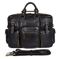 Nesitu Винтаж 100% Пояса из натуральной кожи Для мужчин Портфели Курьерские сумки через плечо дорожная сумка большая сумка для ноутбука черный #