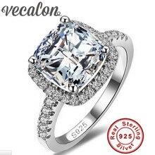 Vecalon S925 Logo 100% Sólida Plata de ley 925 Anillos Para mujeres 3ct sona 5a cz circón anillo de compromiso de la boda fine joyería
