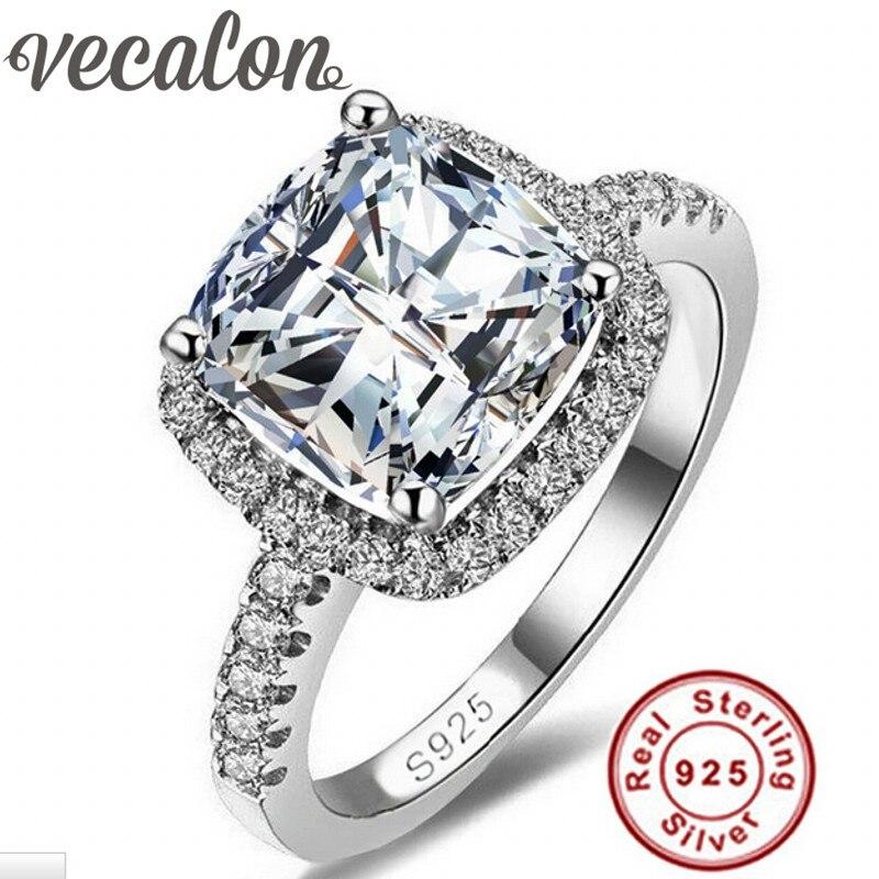Vecalon S925 Logo 100% Solide 925 En Argent Sterling Anneaux Pour femmes 3CT SONA 5A Zircon cz Bague De Fiançailles De Mariage Fine bijoux