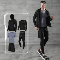 Men's Sportswear Suits Gym Exercise Training Clothes Workout Jogging Sports Set Running Tracksuit Kit Dry Fit Plus Size