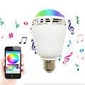 7 W E27 RGB Lâmpada LED Bluetooth Speaker Música Lâmpada Lâmpada de Iluminação Colorida Regulável Inteligente Luzes Lâmpada Com Controle Remoto controle