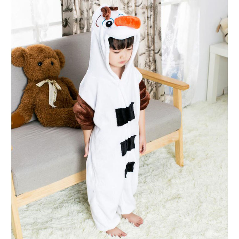 Flannel Soft Snowman Pajama For Kid Boy Girl Winter Warm Jumpsuit Anime Olaf Costume Onesie Cosplay