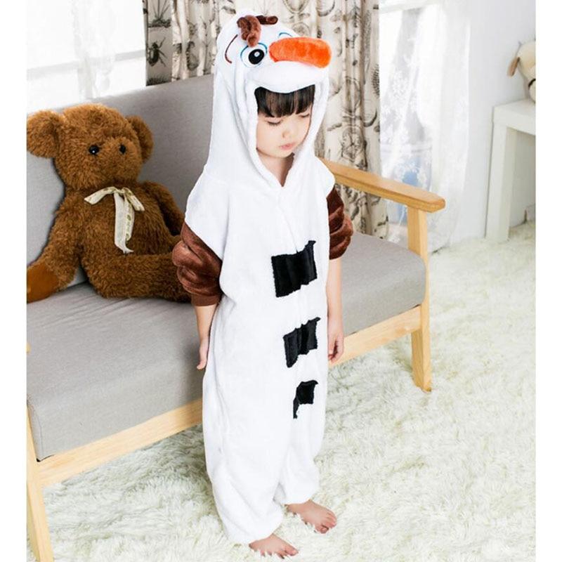 Фланелевая мягкая Пижама со снеговиком для детей мальчиков и девочек зимний теплый комбинезон Аниме Костюм Олафа комбинезон для косплея