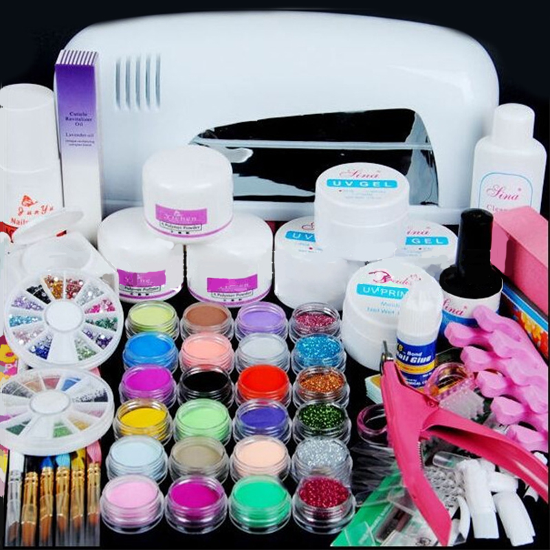 9w Uv Lamp Acrylic Nail Gel Manicure Set Nails Art Uv Gel
