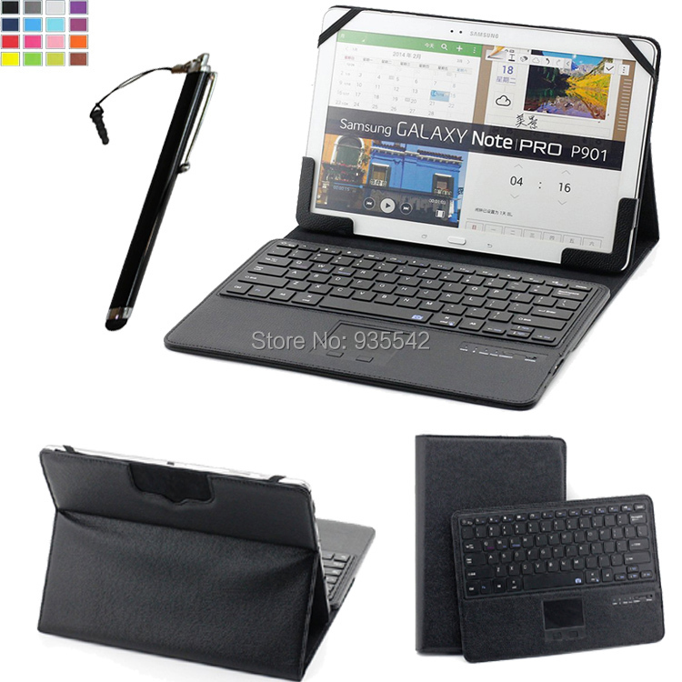 For 11.6 12 12.2 inch Tablet Universal Folding PU Leather Folio Stand Case w/ Removable Qwerty Detachable Bluetooth Keyboard