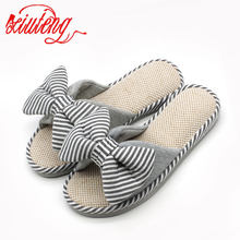 Xiuteng Candy color Warm Home Slippers Women Bedroom Winter Slippers Cartoon Bowtie Indoor Slippers Cotton Floor Home Flax Shoes(China)