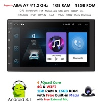 7 Inch 2 Din 1GB RAM Quad core Universal Android8.1 Car Radio Stereo GPS Navigation WiFi 1080P Touch Screen DVR TPMS OBD2 Camera