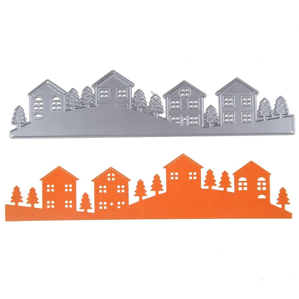 Houses Trees Pattern Metal Cutting Dies Stencils DIY Scrapbook Embossing Album Paper Card Craft Decorative Village Cutting Die