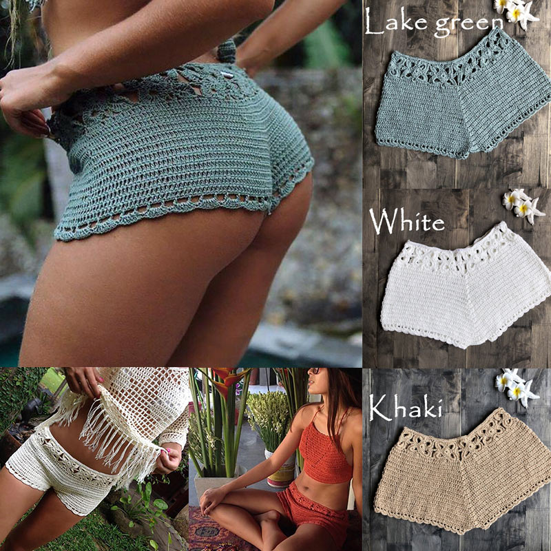 Women Hollow Shorts Knitting Slim Breathable Solid Color For Summer Beach Party IK88